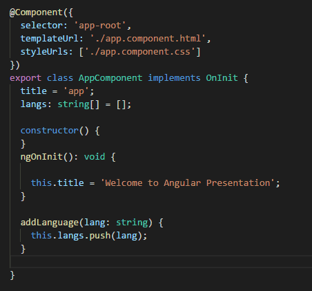 Code Snippet of Component